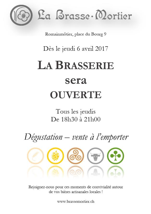 Horaires 2017 de la brasserie La Brasse-Mortier à Romainmôtier : tous les jeudis de 18h30 à 21h00